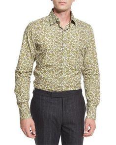 TOM FORD Paisley Floral-Print Shirt, White. #tomford #cloth #