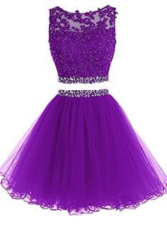 Sexy prom dress,charming prom dresses,appliques prom gown,two piece prom dress Two Piece Homecoming Dress, Prom Dresses Two Piece, Cute Prom Dresses, Formal Dresses, Prom Gowns, Purple Homecoming Dresses, 2 Piece Dress Short, Pretty Dresses For Kids, Evening Dresses