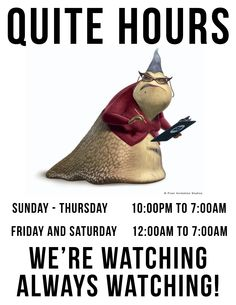 my quite hours sign!