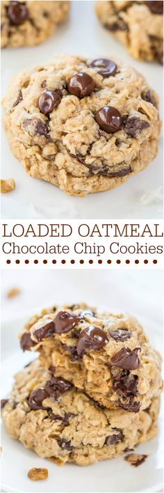 Loaded Oatmeal Chocolate Chip Cookies - Soft, chewy, and loaded with chocolate! Sinking your teeth into a thick, hearty cookie is the best!! So good!
