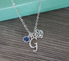 Paw Necklace Paw Heart Necklace Silver Paw by MadiesCharms on Etsy