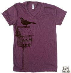XL- Womens BIRDHOUSE american apparel T Shirt S M L XL by ZenThreads, $18.00