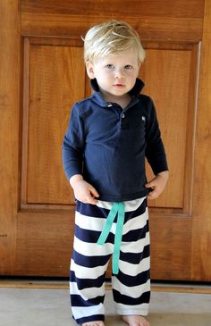 Easiest Baby Pants to Sew, Ever. - The Sewing Rabbit. I like the idea of using polo shirts from a thrift store to make these pants