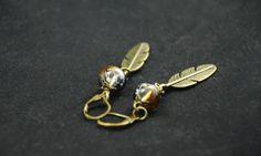 Boucles d'oreilles - perle en verre noir : Boucles d'oreille par teinte-native