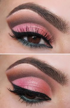 Summer Eyes Cut-Crease (for brown eyes): bright pink lid, blue-grey under eyeliner, distinct brown to rust crease Makeup Black, Love Makeup, Makeup Tips, Makeup Looks, Makeup Ideas, Amazing Makeup, Nail Ideas, Cut Crease Makeup, Skin Makeup
