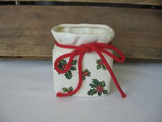 Lefton Candy Bag Vase Holly Leaves Berries by MyVintageTable, $10.00