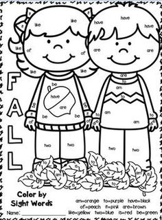 FREEBIE! Color by Sight Word and read a sight word