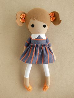 Reserved for Aletta - Fabric Doll Rag Doll Light Brown Haired Girl in Blue and Orange Striped Dress and Orange Polka Dotted Shoes