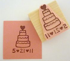 Save The Date Cake Hand Carved Rubber Stamp by cupcaketree on Etsy, $13.00