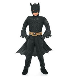 batman boys costume - As Gotham City's crime-fighting hero, your Dark Knight is suited for action in this muscled jumpsuit with attached boot tops.