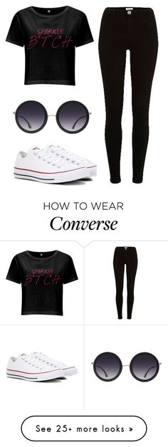 """BLACK"" by kekkambreigns on Polyvore featuring Converse, Alice + Olivia and River Island"