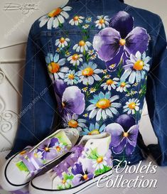 Painted Denim Jacket, Painted Jeans, Painted Clothes, Painted Shoes, Hand Painted, Custom Clothes, Diy Clothes, Altered Couture, Embellished Jeans
