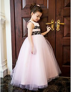 Formal Evening / Wedding Party / Vacation Dress - Candy Pink A-line Jewel Ankle-length Satin / Tulle / Lace