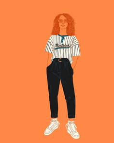 Drawing inspiration from all over: @odeyaloclothing trousers from the spring 2018 collection, made up vintage top (Montréal represent), and shoes I saw on someone (if anyone recognises the brand please tell me, I need them in my life). Modeled by the likeness of @emeraldroselewis (because ) #illustration #instaillustration #tablet #procreate #illustrationoftheday #judithpraynault #fashion #odeyaloclothing #montreal