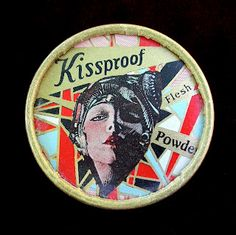 Kissproof's loose powder cardboard container, 1927