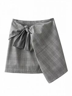 Shop Gray Plaid Bow Detail Wrap Asymmetric Hem Pencil Mini Skirt from choies.com .Free shipping Worldwide.$24.99