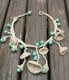 Boho Crocheted Necklace and Bracelet Natural Color with  by szyga,