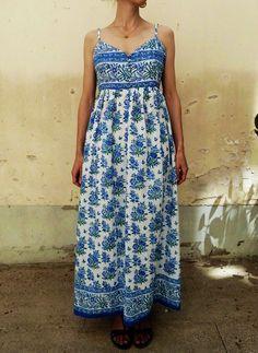 Hippie ethnic indian sundress dress vintage India cotton block print flower Festival US 6/UK 10  Buy block print cotton fabric https://www.etsy.com/shop/Indianlacesandfabric?section_id=16572882&ref=shopsection_leftnav_3