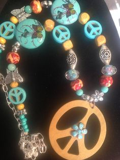 Turquoise Peace Beaded Necklace by AllaLunaDesign on Etsy