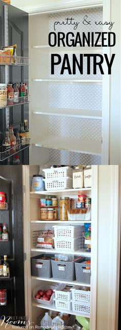 Pretty And Easy Organized Pantry Makeover /Remodelaholic/ Organisation Hacks, Pantry Organization, Bathroom Organization, Organized Pantry, Pantry Ideas, Pantry Diy, Kitchen Pantry, Closet Ideas, Diy Kitchen