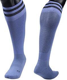 Lovely Annie Men's 2 Pairs Knee High Sports Socks for Baseball/Soccer/Lacrosse 003 M(Light Blue) Thigh High Leg Warmers, Thigh High Tights, Thigh High Socks, Combat Boots Socks, Rain Boot Socks, Girls Knee High Socks, Girls Socks, Womens Wool Socks, Black High Boots