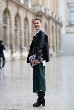 How To Dress Like A French Girl #refinery29 Get familiar with gauchos because they're not goin' anywhere! Play up their length with tall boots (or stilettos!).