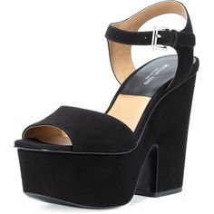 Michael Kors Collection Harley Suede Platform Sandal (46005 RSD) ❤ liked on Polyvore featuring shoes, sandals, black, black platform sandals, high heel platform sandals, ankle strap sandals, platform shoes and black platform shoes