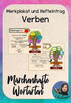 Verbs poster and booklet fairy tale - The set contains: – 1 memo poster for the verbs with all the important memo sentences – 1 gap t - German Grammar, German Words, Spanish Activities, Educational Activities, French Lessons, Spanish Lessons, Learn French, Learn English, Grammar Posters