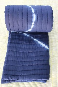 "Exclusive Jaipuri Razai Shibori Print Blue Colour Cotton Filling Quilt 90x108"" #KhushiHandicraft #ArtDecoStyle"