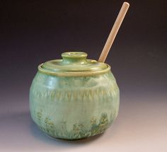 Hand Made Pottery Honey Pot/  Pottery Jam Pot by AnneMariesPottery, $38.00