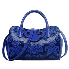 Women PU Leather Embossing Classic Tophandle Handbag Messenger Bag Shoulder Bag Chinese Style Blue * Click image to review more details.Note:It is affiliate link to Amazon.