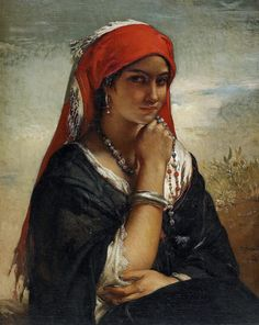 The Necklace By Jean François Portaels - [Belgian , 1818 - 1895] Oil on canvas .