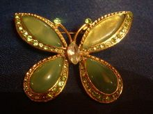Beautiful Large Green Butterfly Cabochons, Rhinestones, Whimsical!