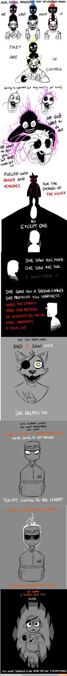 Oh, I don't need the feeling of happiness, nope, thanks Foxy.... But isn't Bonnie the boy and Chica the girl?