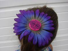 $4 Purple Button Flower Power Hair Barrette Purple Blue Pink Gerber Daisy Hair Accessories