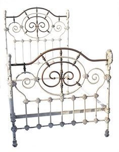 """This beautiful antique iron and brass bed was referred to as the """"Shepherds Staff"""" bed because of the curved corners. Antique Iron Beds, Wrought Iron Beds, Wrought Iron Decor, Vintage Bed Frame, Brass Bed, Multipurpose Room, Vintage Iron, Metal Beds, Cozy Bedroom"""