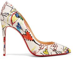 93ea639270f Christian Louboutin - Pigalle 100 Printed Patent-leather Pumps - White Christian  Louboutin Heels