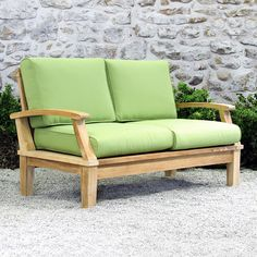 Turn your patio or garden into an outdoor living room this summer with our Ravello Deep Seating loveseat. The Ravello collection boasts a classic, substantialpremium teak frame and luxurious Sunbrella cushions, available in a range of colors to suit your style. Accent pillows available separately.