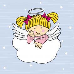 Ali d'angelo su una nuvola. Biglietto d'auguri photo