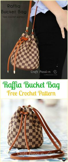 Crochet Raffia Bucket Bag Free Pattern - Crochet Handbag Free Patterns Instructions