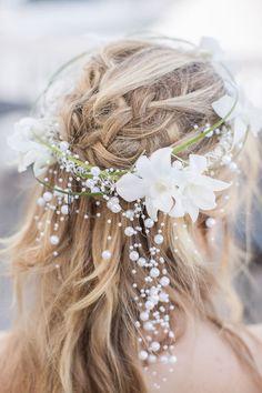 floral crown with pearls   Heidi Calma Photography: http://heidicalma.com