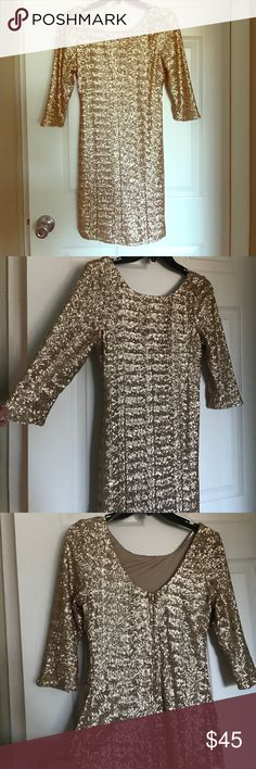 "Crystal Doll Dress Perfect for Winter Wedding👰🏼 Now I ain't saying she a gold digger 🎶🔥 -Kanye West *** Crystal Doll Gold sequin dress 💰🖤 Worn 1x to a winter wedding 👰🏼 Perfect condition 💯 I'm 5'2"" and it goes to mid thigh  [ I received TONS of compliments 💁🏼 ]  [ Looks FABULOUS with black heels AND boots! ] 🔥 *** Make an offer!  FREE small gift with EVERY purchase! 😘 Crystal Doll Dresses Mini"