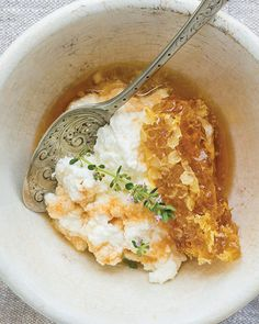 Homemade Ricotta & Honey | Sweet Paul Magazine: Place a large scoop of fresh ricotta in a bowl and top with a piece of honeycomb. Sprinkle with flowering herbs