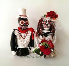 Skull Bride and Groom weddings cake topper handmade by iampleasure