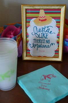 A fiesta-themed baby shower + birthday combination celebration. Custom napkins, cups, and loads of fiesta flowers! Fiesta Like There's No Tomorrow. KiKiMac.me