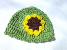 Check out this item in my Etsy shop https://www.etsy.com/listing/185246708/olive-green-newborn-hat-with-sunflower