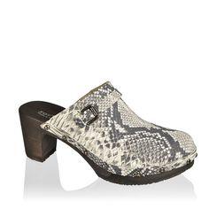 SOFTCLOX Hetty Snakeprint Roccia #summer #spring #shoes #summershoes #springshoes #softclox #clogs #wood #woddensole #snakeprint #leather