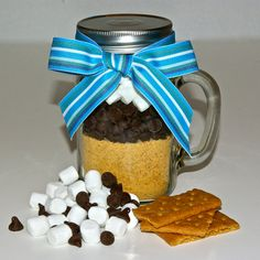 S'mores Cake Mix in a Glass Mason Jar Mug by trio3 on Etsy, $16.50