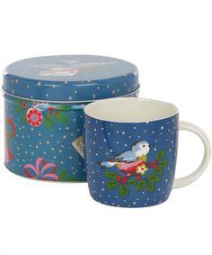 Christmas Birds Mug in Tin