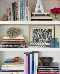 Maybe two piles of books can support the BADEN sign amd then I can put a few smaller pieces (candles, plants, knick knack) in frotn to soften it...like the photo on the third shelf